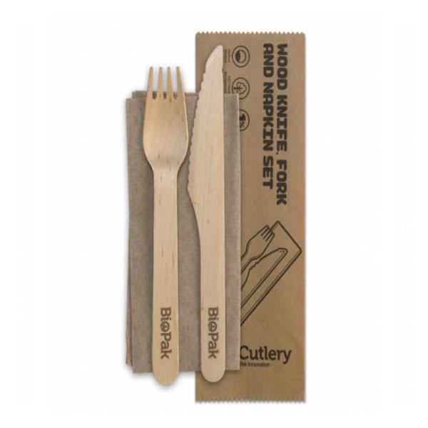 Wooden Fork/Knife/Napkin set